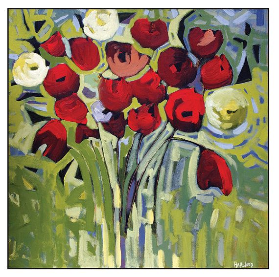 Fine art cardRed Flowers Blank with envelope by jenniferharwood, $3.99