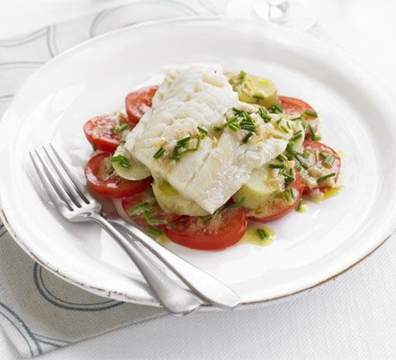Smoked Haddock with Tomatoes & Chive Dressing... Great way to liven up haddock! #food #meal #dish #recipe #dinner #foodie