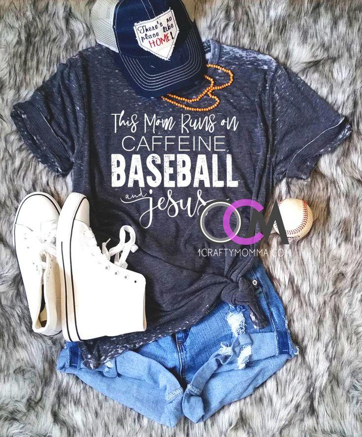 Caffeine Jesus and Baseball Shirt, This Mom Runs on Caffeine Baseball & Jesus Tee, Baseball Mom Shirt, Jesus Shirt- Eroded Wash 24.99