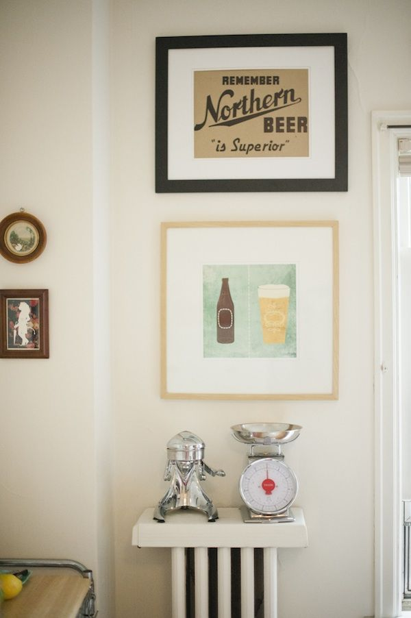 cover the radiatorRadiator Shelf, Kate Arends, Beer Art, Kitchens Inspiration, Beer Prints, Kitchens Artworks, Apartments Dwell, Bar Carts, Style At Home