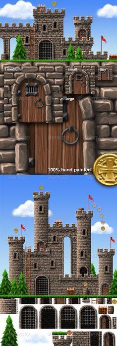 Castle Platform Game Tiles & Sprites