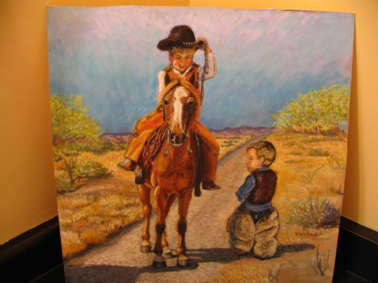 Little cowboys, pastel on Suede board.  Artist Gail Flint.