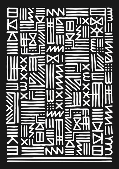 love this pattern, like calligraphy or African mudcloth...