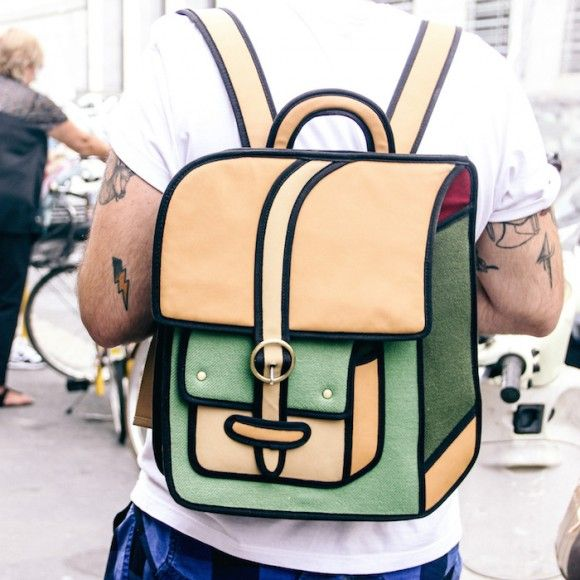 Street Style Details of Milan Fashion Week - 2D cartoon bag Jump From Paper