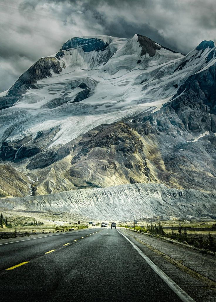 Hot travel destination Icefields Parkway, Alberta.  It's hot but bring your parka at this time of year!