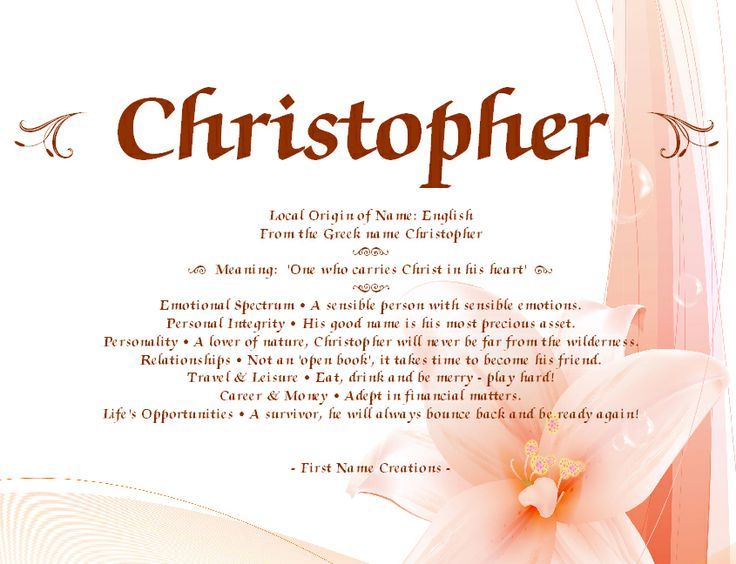 Christopher Name Meaning - First Name Creations | Names ... - photo#7