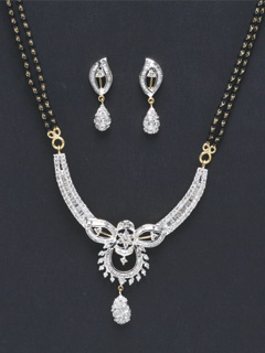 Enticing Diamond Mangalsutra Set With Earrings. Gift Your Wife The Gift For Life.