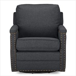 Baxton Studio Ashley Modern and Contemporary Classic Retro Grey Fabric Upholstered Swivel Armchair with Bronze Nail heads Trim Affordable modern furniture in Chicago, Classic Accent Club Chair, Modern Chair, cheap Chair,