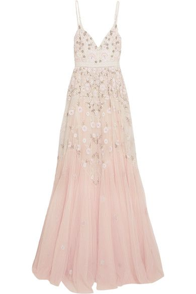 Needle & Thread - Embellished Embroidered Tulle Gown - Pastel pink - UK12
