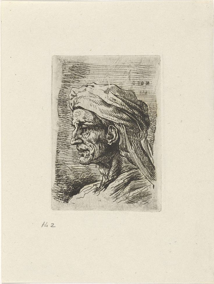 Cornelis Justinus Geisweit van der Netten | Portret van een man met een tulband, Cornelis Justinus Geisweit van der Netten, 1858 | Een man met een tulband op zijn hoofd. Buste en profil naar links.