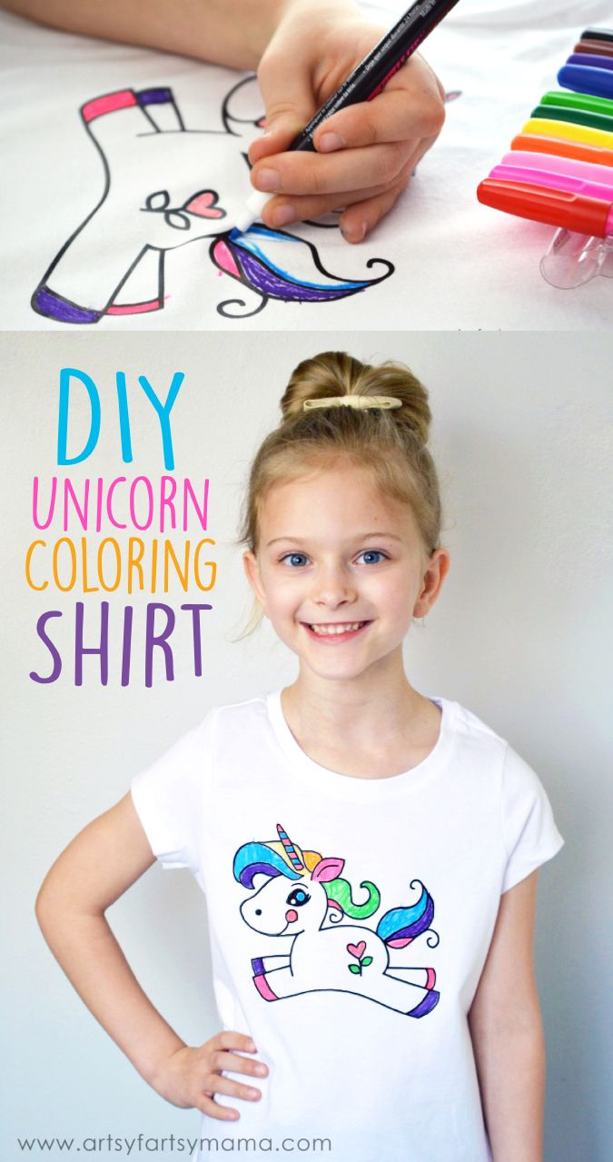 Create your own DIY Unicorn Coloring Shirt at artsyfartsymama.com