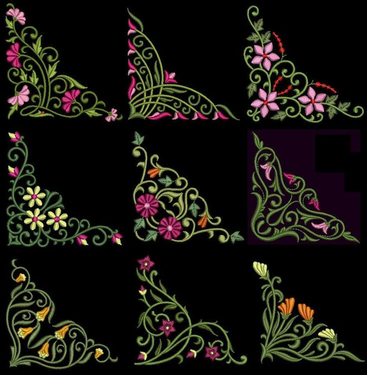 Exotic Floral Corners Machine Embroidery Design CD 4x4 for Brother ...
