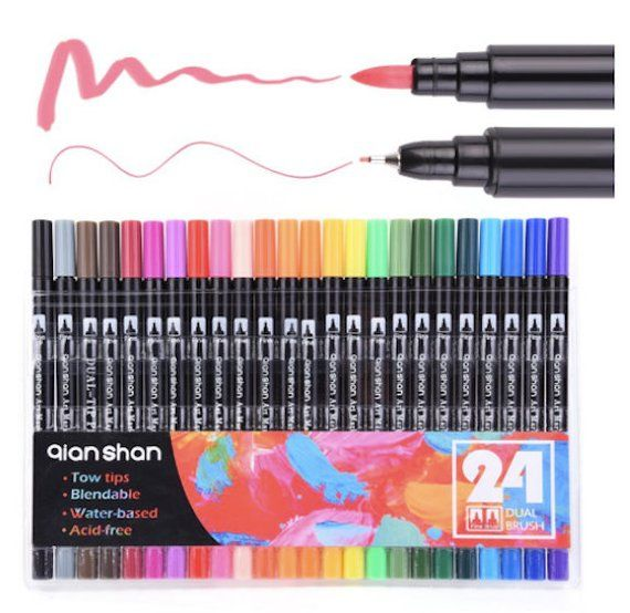 Brush Pen Watercolor Brush Pen Dual Tip Watercolor Markers Set 24