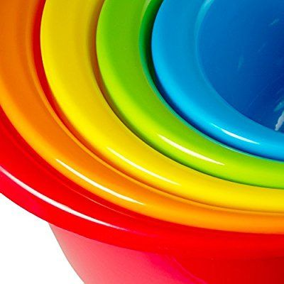 5 - Piece Rainbow Color Nesting Kitchen Mixing Bowls Set with Wide Rim and Pouring Spouts