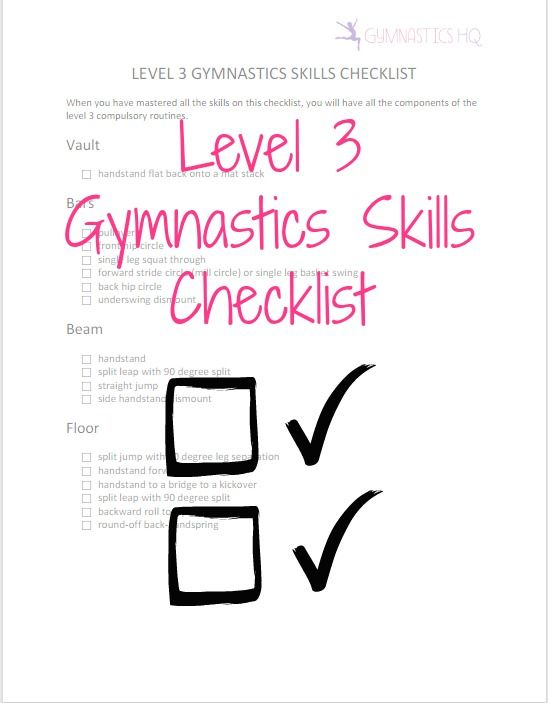 """Printable Level 3 Gymnastics Skills Checklist... To get the rest of the gymnastics levels checklists, click on """"Gymnastics Levels"""", and then click on the level that you are interested in"""