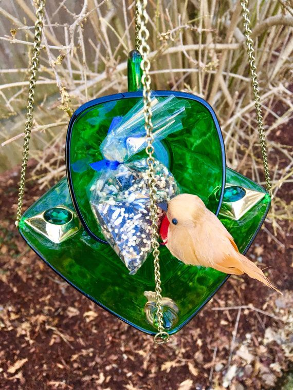 Green Tea Cup Bird Feeder Repurposed Vintage Glassware by mscenna