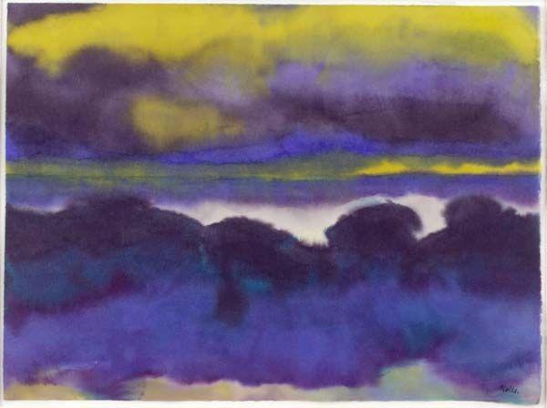 Emile Nolde - Marschlandschaft - watercolor, c. 1925