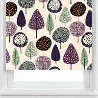 Sherwood Mint Patterned Roller Blinds? They will tone in with my soft green, darker grey/ brown, and my purple bits. And trees would kind of go because we can see the forest out the window.