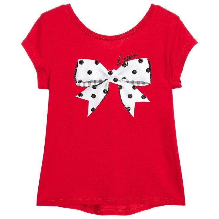 Lapin House Girls Red Viscose Bow Print T-Shirt at Childrensalon.com