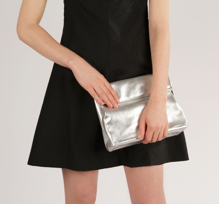 """Handmade Leather Lunch Bag """"Claude Silver"""", Women Lunchbag, Adult Lunch Bag, Small Silver Clutch, Leather Purse for Christmas"""