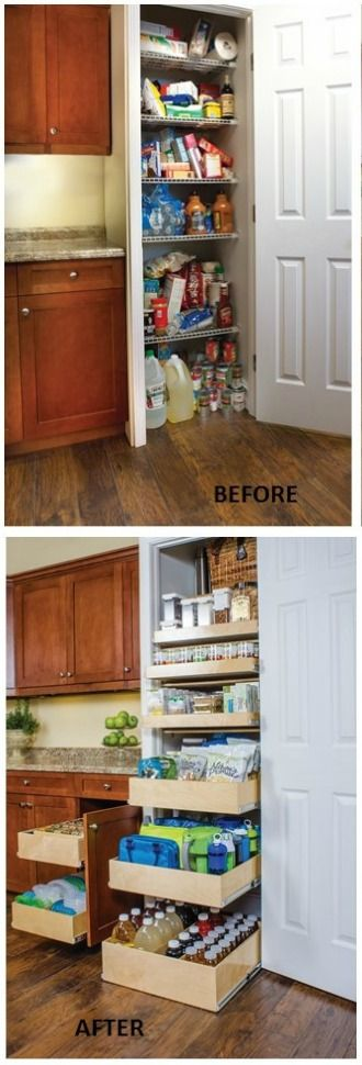 Organizing the Pantry - install pull-out cabinet organizers to keep food rotated and pantry items accessible