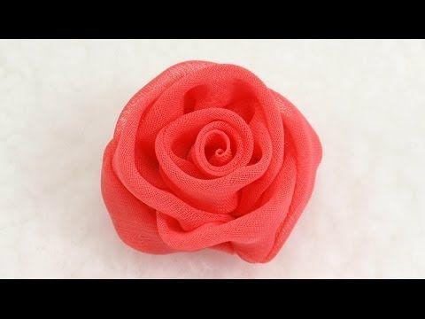 Flores rubí corazón diamante de cuatro pétalos en cintas de organza para el cabello - YouTube