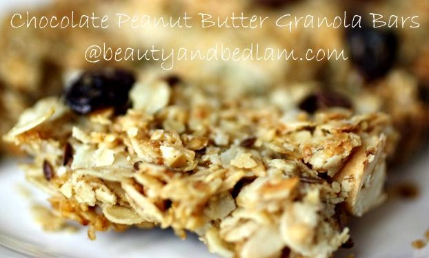 Homemade and Easy - Peanut butter chocolate granola bars. Perfect for quick breakfasts and lunches.