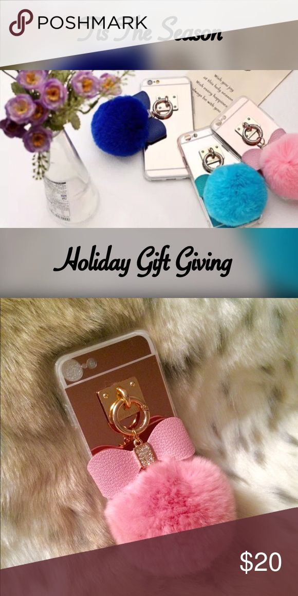 ✨New Rose Gold IPhone 7 Flexi Case w/Rabbit Fur Stay stylish & protected with this soft, Rose Gold mirrored, pink rabbit fur flexi case adorned with a studded faux leather bow!  Very flexible, easy to grip, & aesthetically pleasing to the eye! The perfect holiday gift! Order yours today! Offers welcome!💸 Accessories Phone Cases
