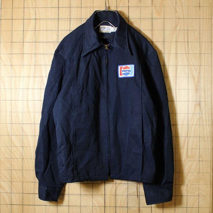 RIVERSIDE/PEPSIペプシワークジャケット/USA製70s古着/ネイビー/ワッペン/メンズM