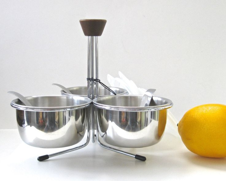 Mid-Century Foley Stainless Store 'N Server with Lids Ladles • Wood Handle Caddy • Danish Modern OLD LIKE NEW Garnishes Condiments Toppings by KatesAtticBargains on Etsy