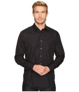 James Campbell Long Sleeve Woven Upton (Black) Men's Long Sleeve Button Up