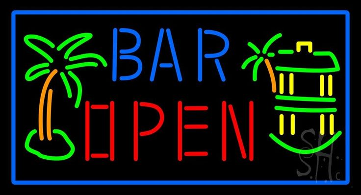 Bar Open With Two Palm Trees Neon Sign 20 Tall x 37 Wide x 3 Deep, is 100% Handcrafted with Real Glass Tube Neon Sign. !!! Made in USA !!!  Colors on the sign are Blue, Orange, Red, Green and Yellow. Bar Open With Two Palm Trees Neon Sign is high impact, eye catching, real glass tube neon sign. This characteristic glow can attract customers like nothing else, virtually burning your identity into the minds of potential and future customers.
