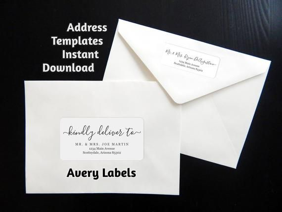 Calligraphy Address Template For Avery Labels Use For Wedding Invitations Christmas Cards Et Avery Label Templates Label Templates Address Label Template