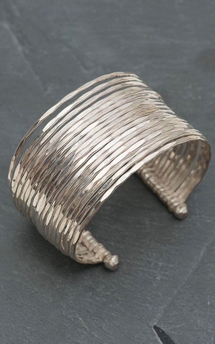 Hammered Silver Bangle Cuff Bracelet #SterlingSilverBracelets #SilverJewelry