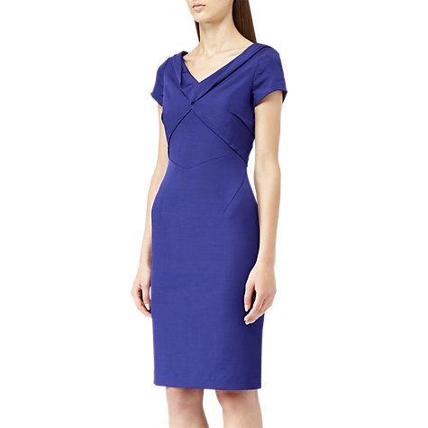 Buy Reiss Augustini Fold Neck Tailored Dress, Cobalt Online at johnlewis.com