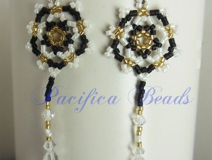 Black & White shooting star beaded earrings