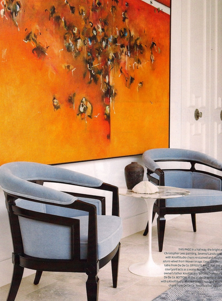 Great reworked vintage barrel chairs from Belle magazine, painting Christopher Lees
