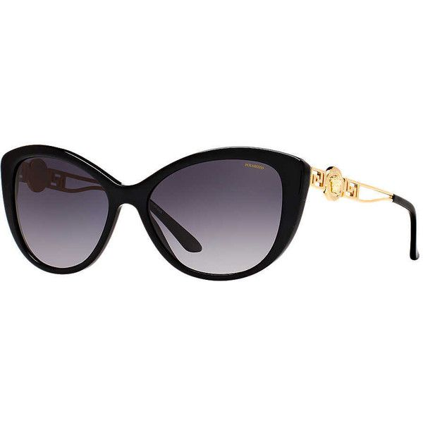 Versace Ve4295 57 Black Cat Sunglasses ($240) ❤ liked on Polyvore featuring accessories, eyewear, sunglasses, glasses, versace, unisex sunglasses, versace sunglasses, versace eyewear and versace glasses