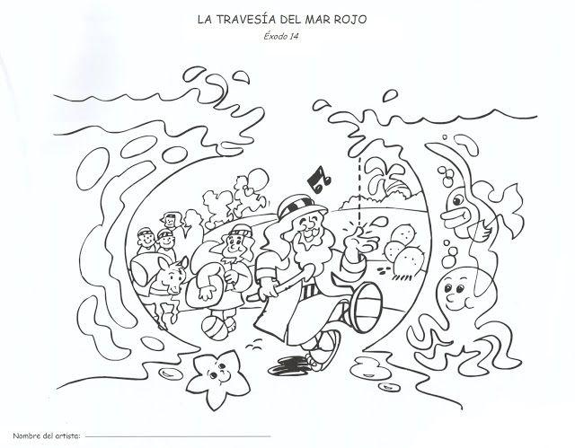 BUENAS NOTICIAS PARA LOS NIÑOS: COLOREAR. MOISÉS CRUZA EL MAR ROJO ...