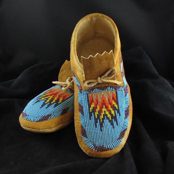 Turquoise Beaded Moccasins with a flame motif  -- be still my heart