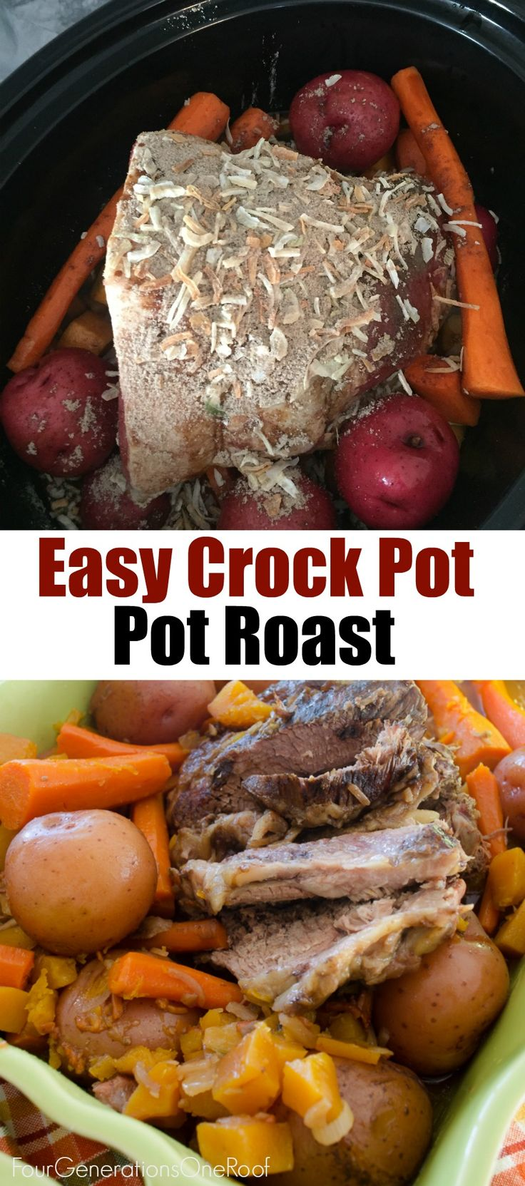 Our easy crock pot pot recipe with potatoes, carrots, worcestershire sauce, lipton onion soup mix and squash.