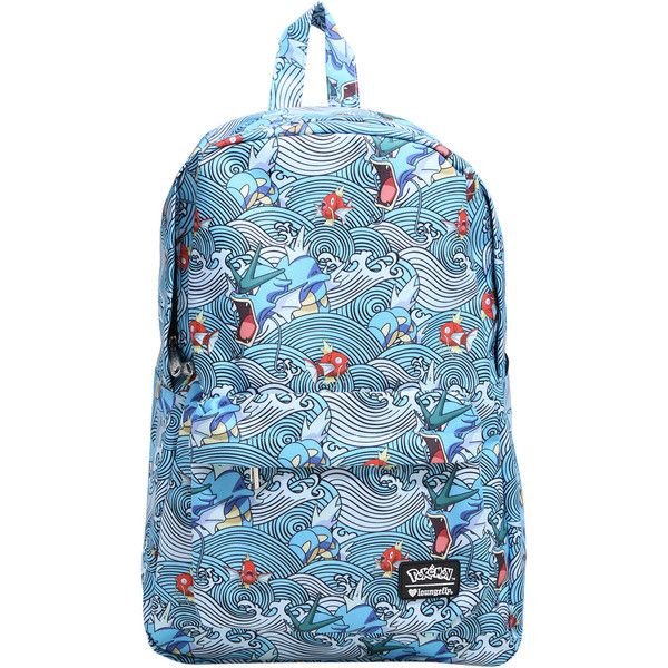 Loungefly Pokemon Gyarados Magikarp Waves Backpack ($41) ❤ liked on Polyvore featuring bags, backpacks, knapsack bag, loungefly, loungefly bags, padded bag and backpack bags