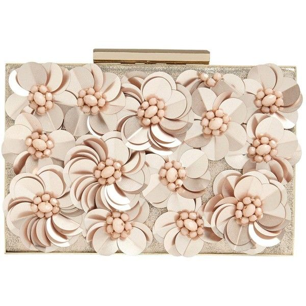 Phase Eight Flora Rose Gold Box Clutch (4,280 DOP) ❤ liked on Polyvore featuring bags, handbags, clutches, sequined clutches, rose gold clutches, floral tote bag, box clutch and pink handbags