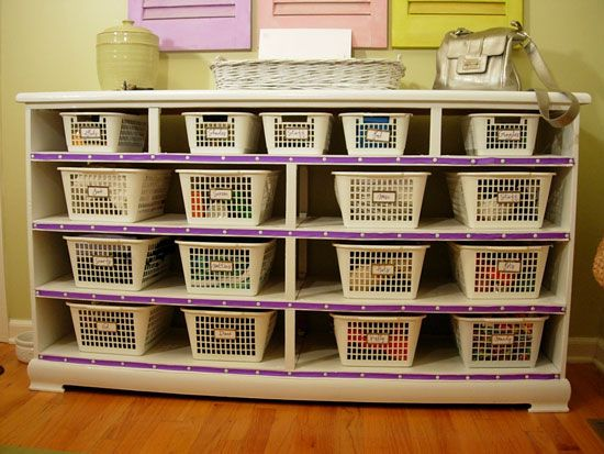 recycled dresser with dollar store baskets