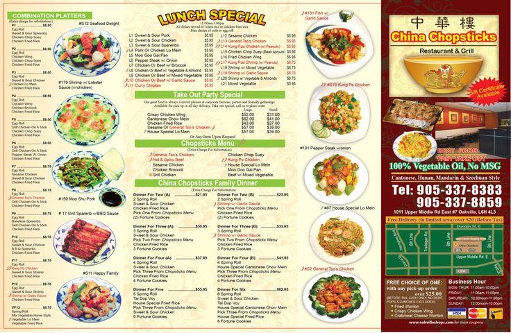 China Chopsticks menu