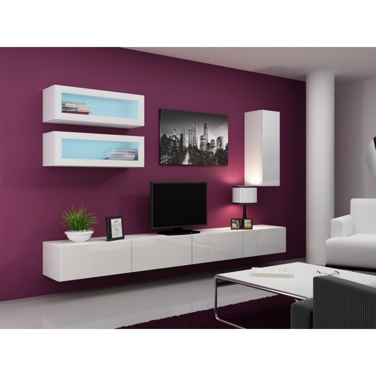 Seattle C1 - white gloss fronts modern tv unit