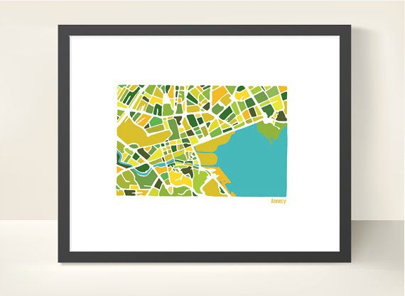 Annecy Map  illustration print by richardedalton on Etsy