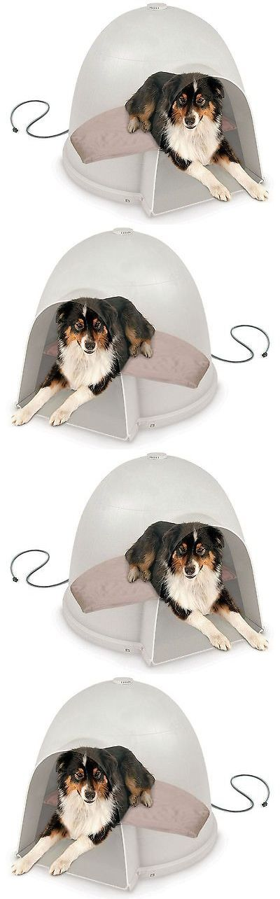 Animals Dog: Outdoor Heated Pet Dog Cat House Warm Waterproof Igloo Shelter Style Bed, Medium BUY IT NOW ONLY: $61.74