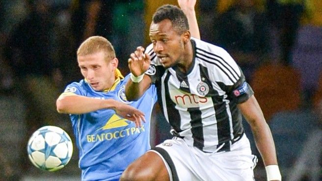 • Mikhail Gordeichuk's 75th-minute header earns lead for BATE  • Red card for Marko Jevtović leaves Partizan with ten men for second half • Andrija Živković squanders two excellent chances for visitors • Second leg at Stadion FK Partizan on 26 August BATE Borisov will take a narrow lead to Belgrade for next week's UEFA Champions League play-off return leg after securing a 1-0 win on home turf against a Partizan side forced to play half the game with ten men.
