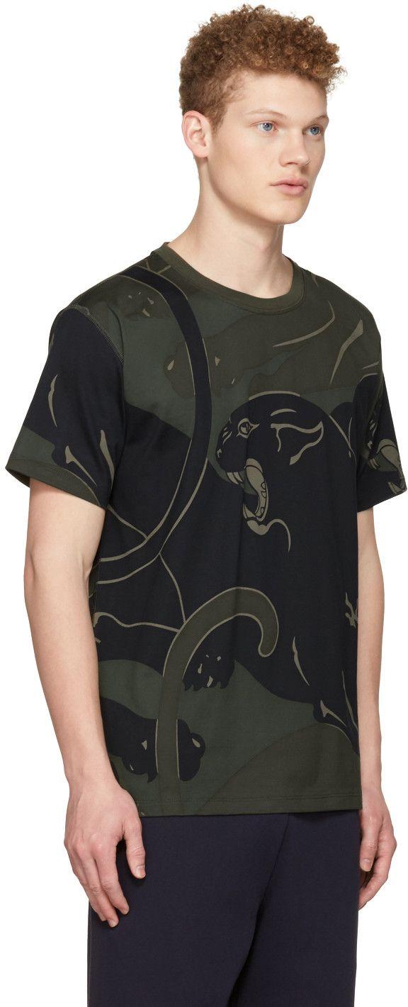 Valentino - Green Camo Panther T-Shirt